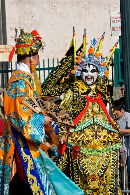Men dress in traditional Chinese costumes for the 2011 Golden Dragon Chinese New Year Parade.