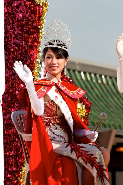 The 2011 Miss LA Chinatown Queen, Shirley Zhang, waves to the crowd from her float.