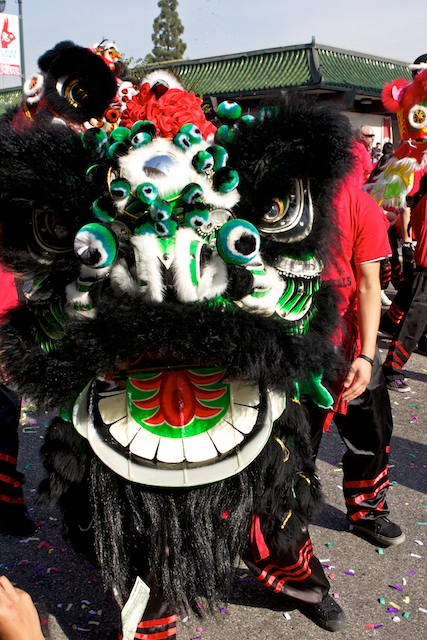 A Chinese lion stops for pictures during the 2011 Golden Dragon Chinese New Year Parade.