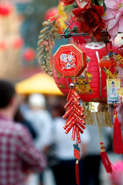 Lanterns and good luck charms adorn business in Los Angeles' Chinatown.